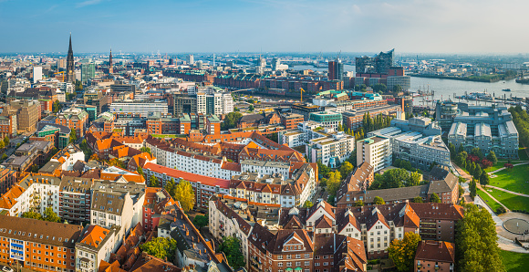 Hamburg aerial panorama over city to Elbphilharmonie and harbour Germany
