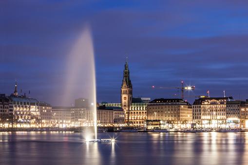 Hamburg Alster Lake fountain at night