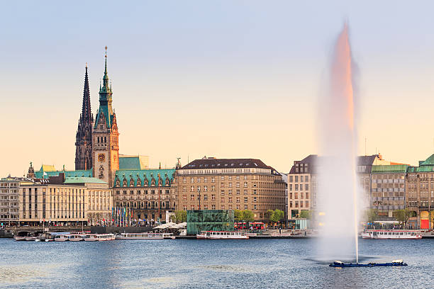 hamburg alster lake, town hall - lake geneva stock photos and pictures