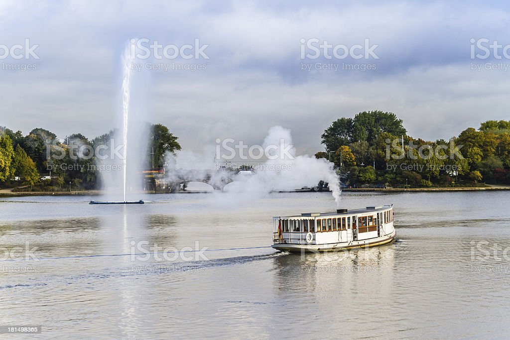 Hamburg Alster with fountain and steam-boat royalty-free stock photo