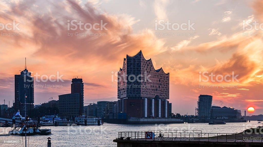 Hamburg architecture at sunrise stock photo