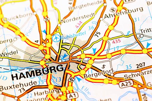 Hamburg area in a map