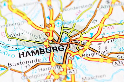 Hamburg area on a map