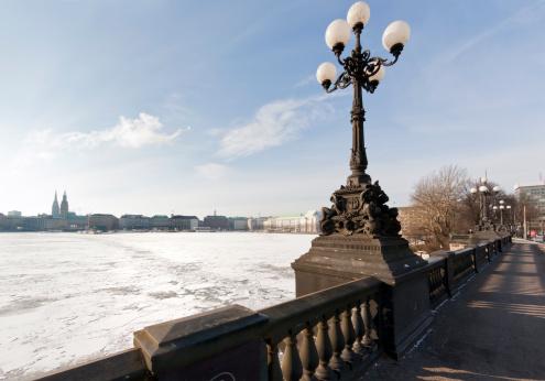 Hamburg, Binnenalster Lake In Winter