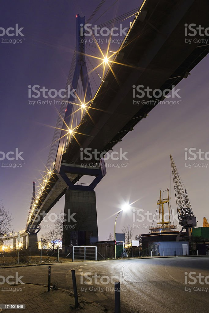 Hamburg, bridge and industrie in the harbour royalty-free stock photo