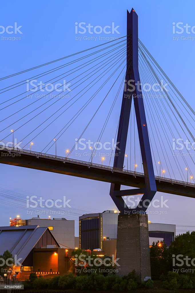 Hamburg, bridge and industrie in the harbour stock photo