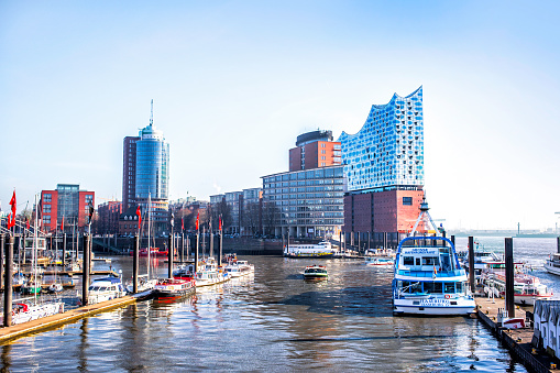 Hamburg city canal and modern buildings