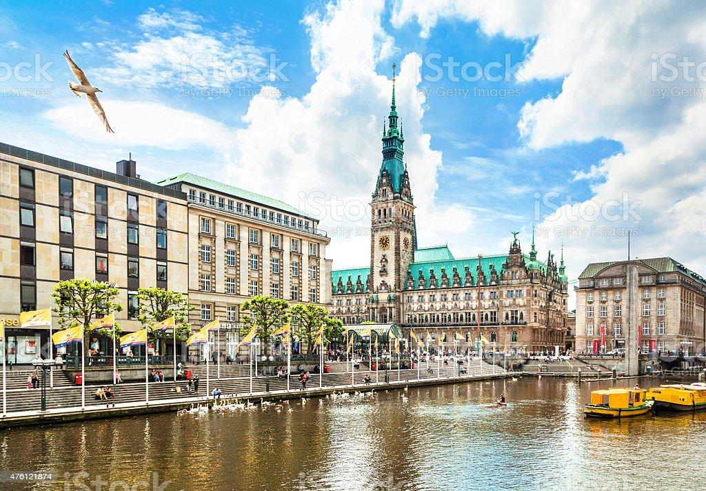 Hamburg Innenstadt mit Rathaus und Alster Fluss, Deutschland Lizenzfreies stock-foto