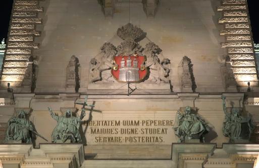 Hamburg City Hall above entrance (landscape)