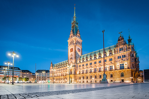 Hamburg city hall with at twilight, Germany