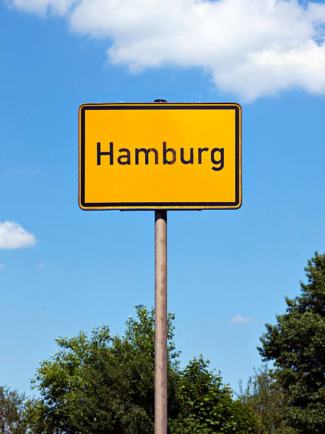 hamburg city limits sign - place sign stock pictures, royalty-free photos & images