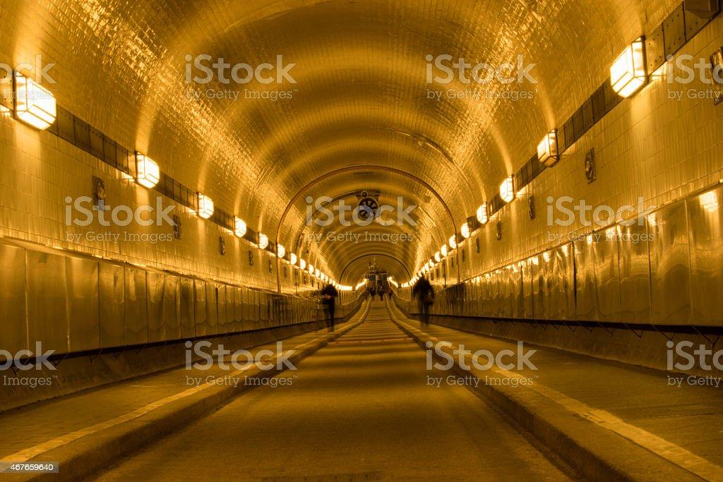 Hamburg Elbe tunnel in amazing light stock photo