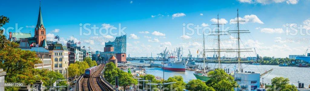 Hamburg Elbe waterfront Elbphilharmonie St Pauli Landungsbrucken city panorama Germany stock photo
