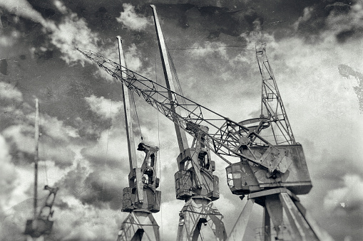 Hamburg, Germany. Old harbor cranes.