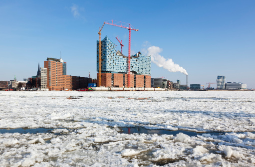 Hamburg HafenCity with Elbphilharmonie construction site