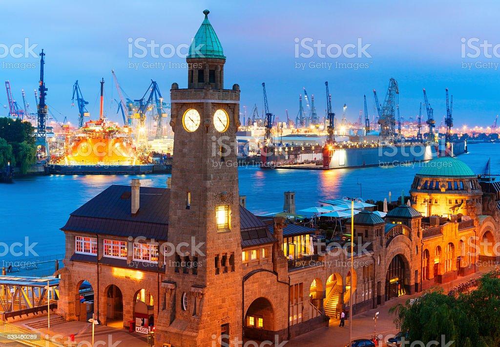 Hamburg Harbor Illuminated at Dusk stock photo