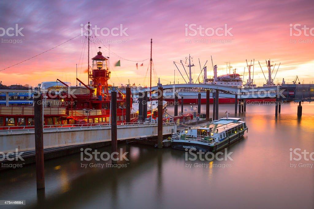 Hamburg harbor in long exposure stock photo