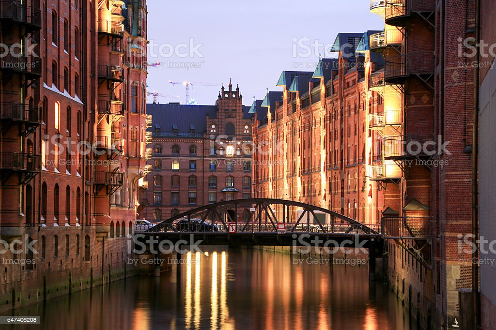 Hamburg Harbor Warehouses stock photo