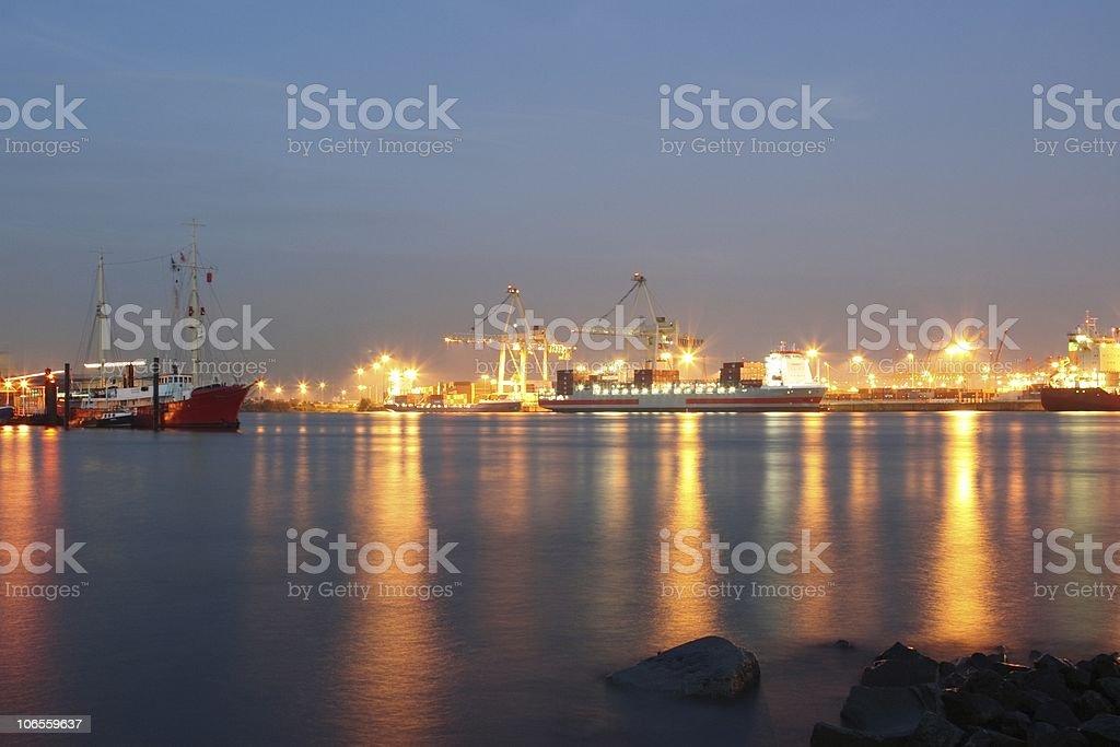 Hamburg Harbour Action Night royalty-free stock photo
