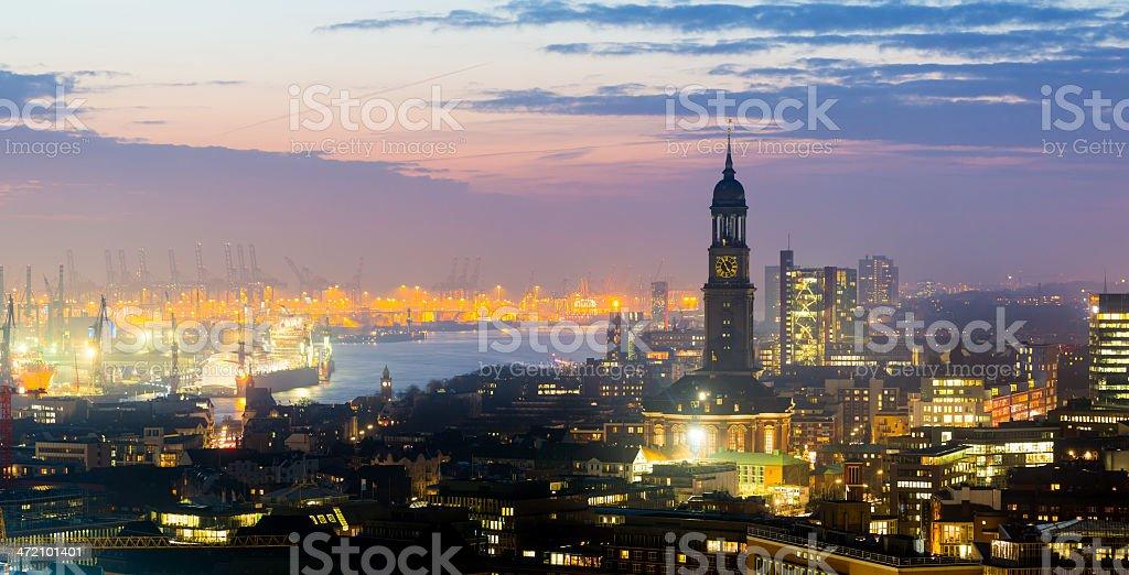 Hamburg harbour at sunset, cityscape stock photo
