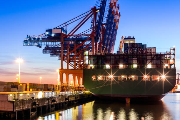 Hamburg Harbour, Cargo Terminal stock photo