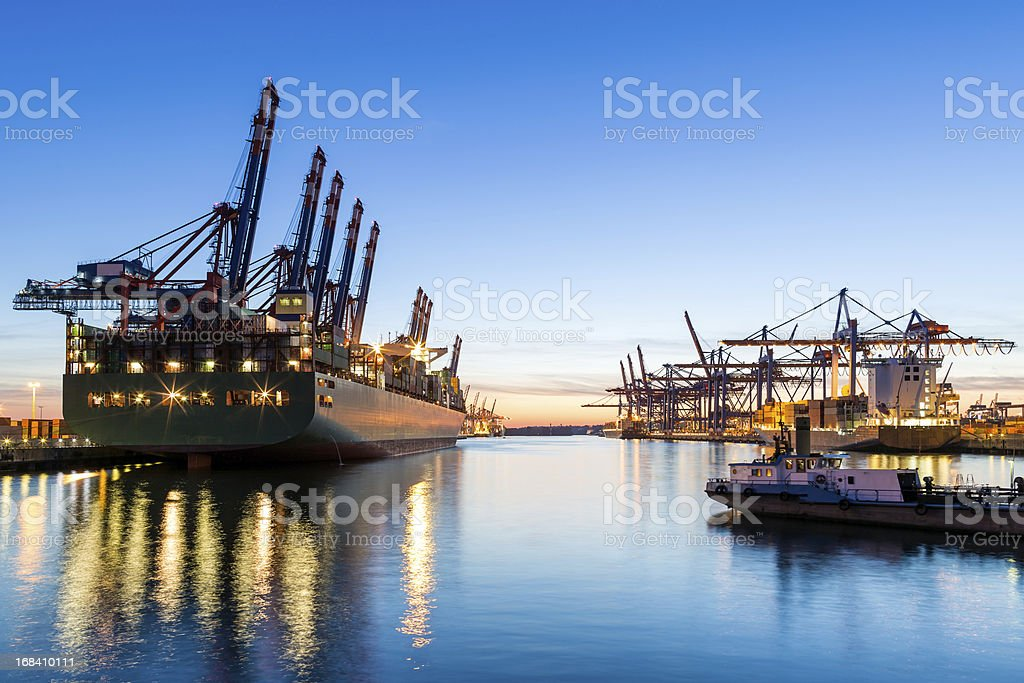 Hamburg Harbour, Cargo Terminal stock photo
