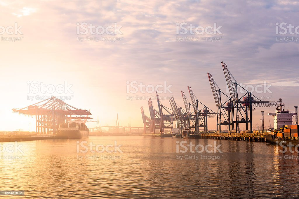 Hamburg Harbour Container Terminal stock photo