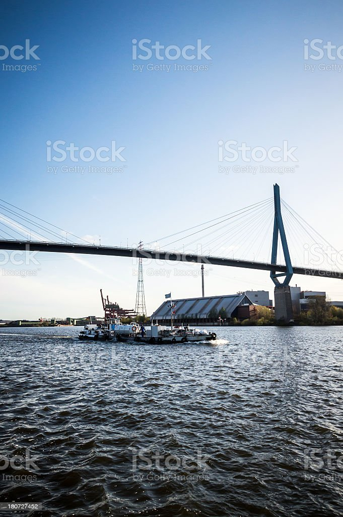 Hamburg Harbour Container Terminal with Bridge royalty-free stock photo