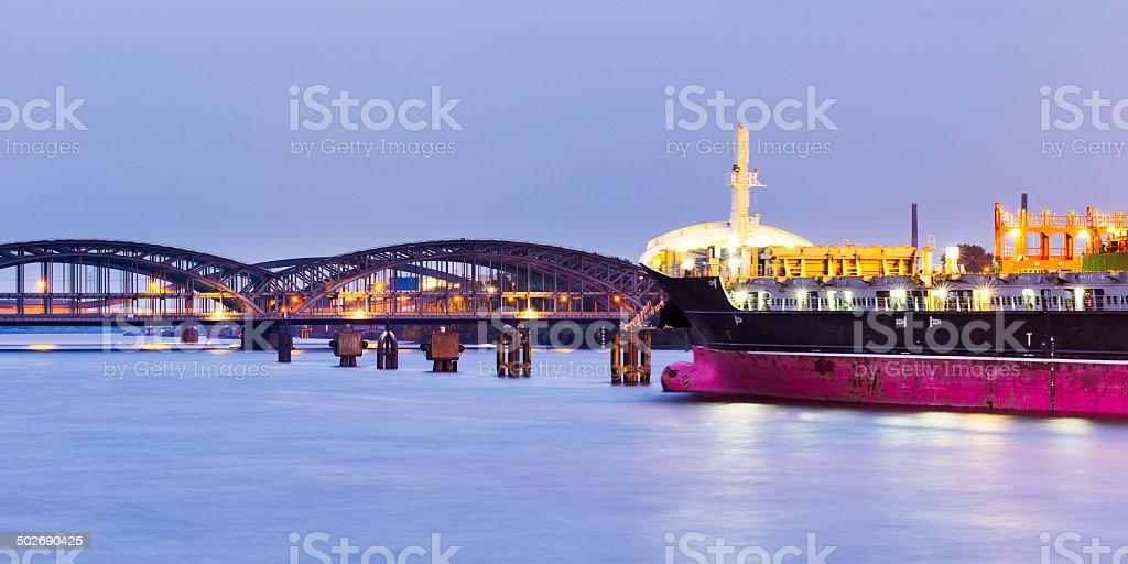 Hamburg Harbour, Elbe bridge stock photo