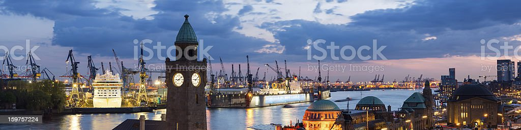 Hamburg harbour, Elbe river royalty-free stock photo