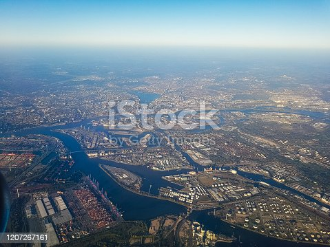 Hamburg harbour from airplane. Aerial view.