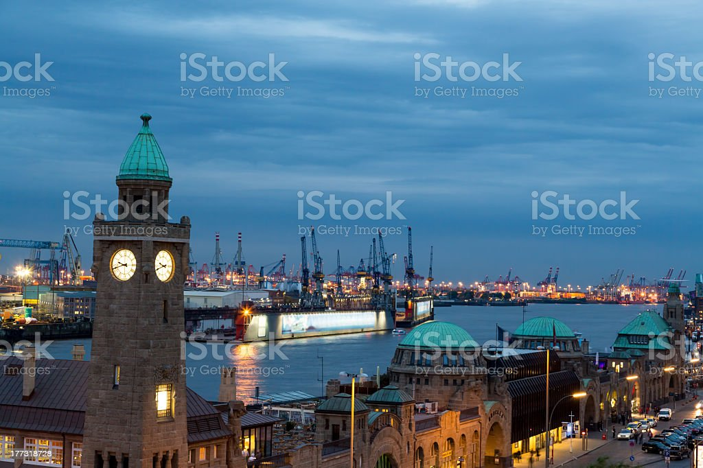Hamburg harbour in the night royalty-free stock photo