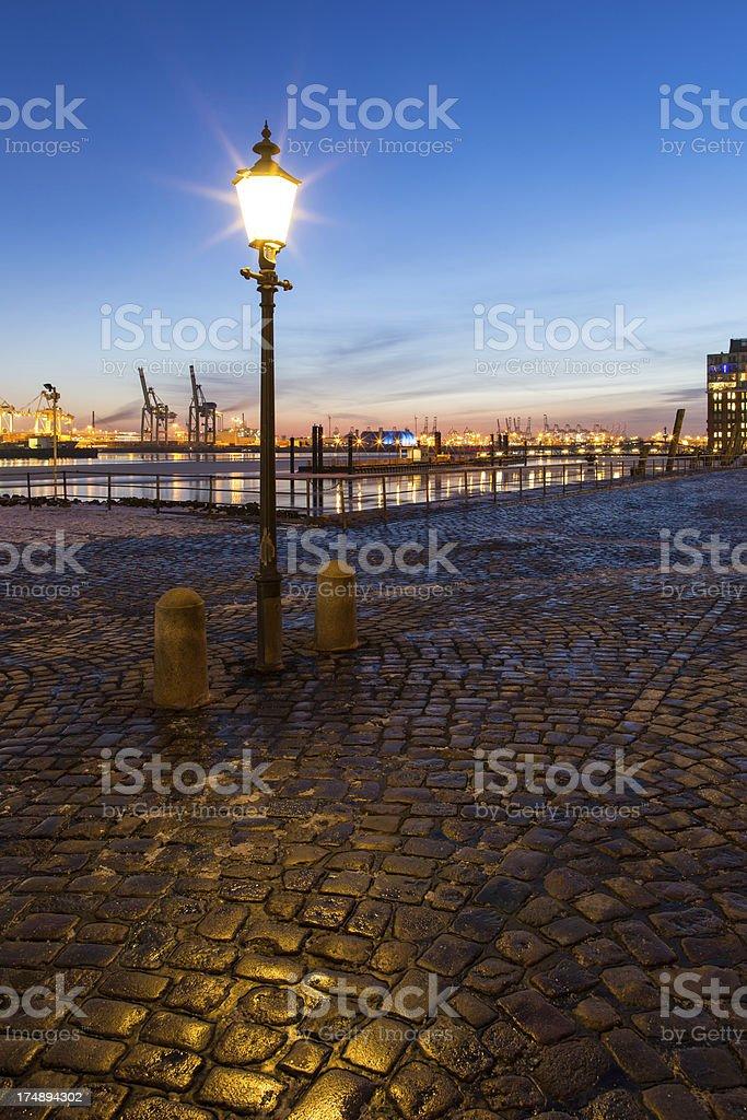 Hamburg harbour on ice, Fischmarkt Altona royalty-free stock photo