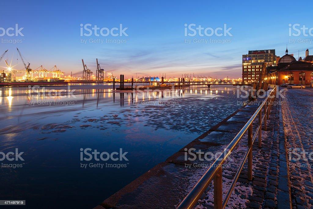 Hamburg harbour on ice, Fischmarkt Altona stock photo
