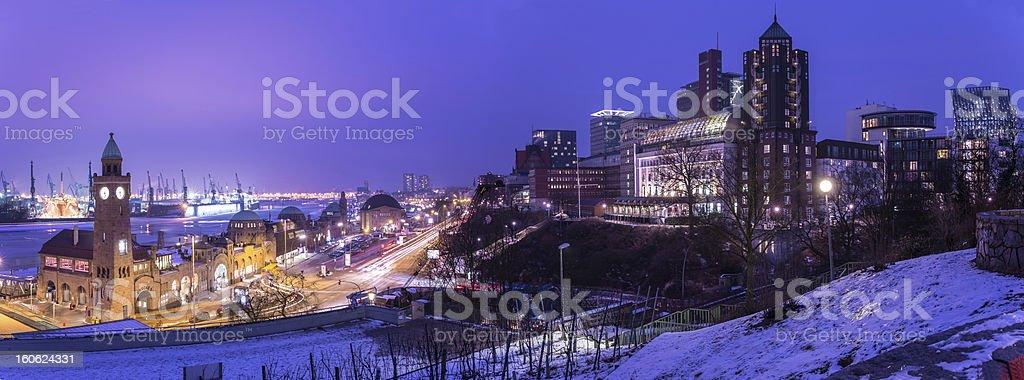 Hamburg harbour panorama stock photo