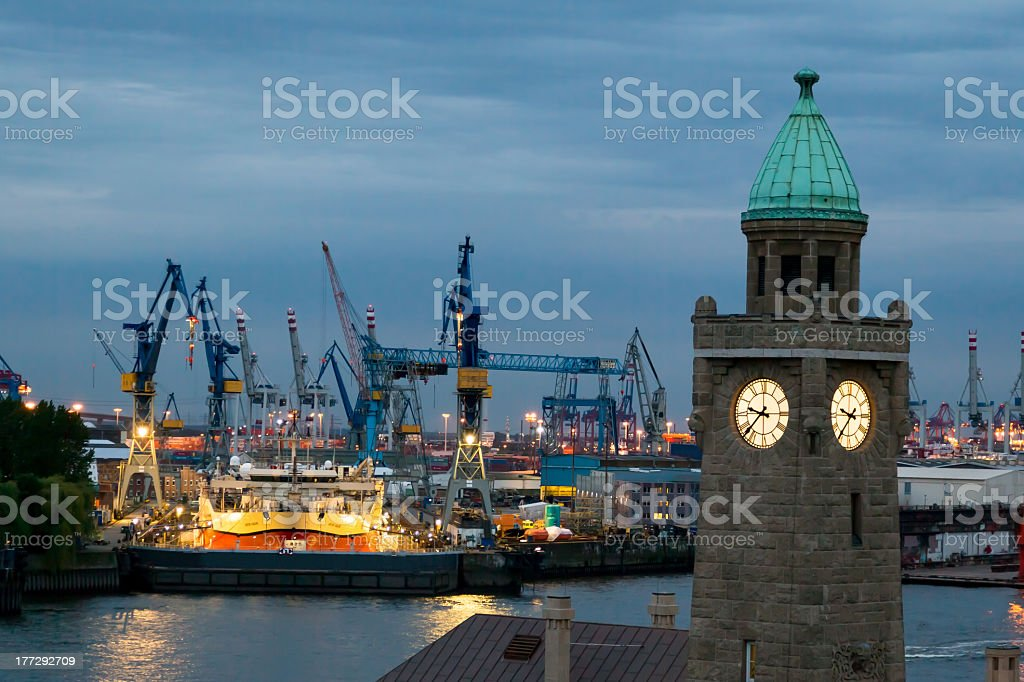 Hamburg in the evening royalty-free stock photo