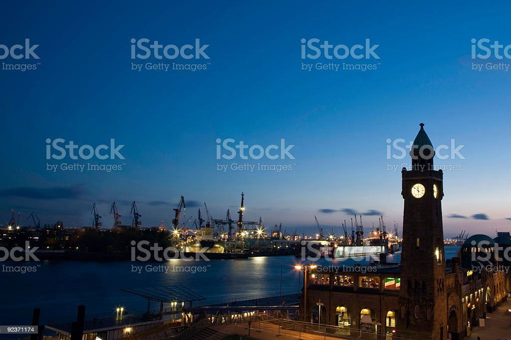 Hamburg in the evening royalty-free stock photo