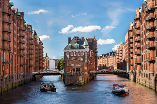 Hamburg landmark moated castle