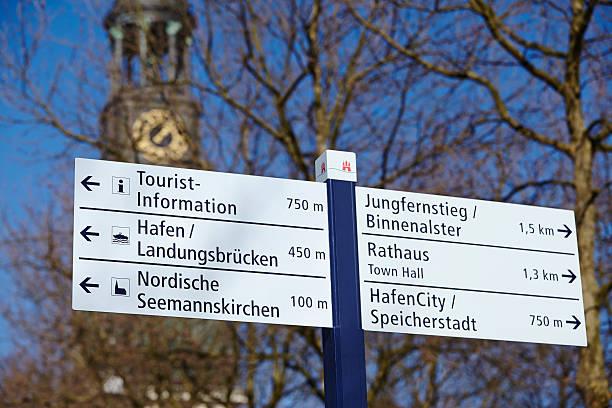 Hamburg-Michel und road sign – Foto