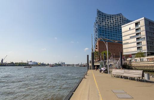 Hamburg Public Harbor Ferry and Elbphilharmonie in the modern Hafencity of Hamburg, Germany