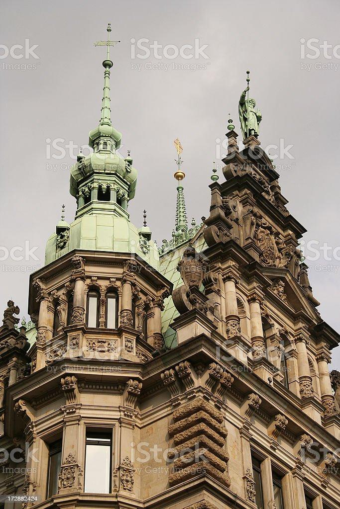 Hamburg Rathaus (detail) stock photo