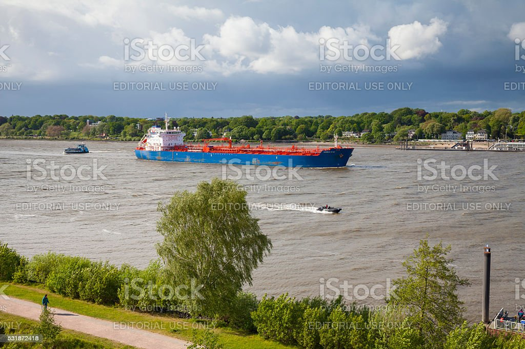 Hamburg, River Elbe with chemical and oil products tanker stock photo