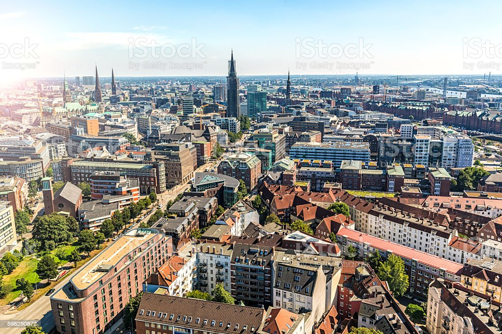 hamburg skyline stock photo more pictures of aerial view istock. Black Bedroom Furniture Sets. Home Design Ideas