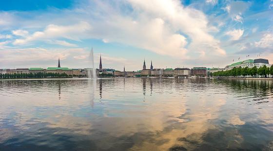 Hamburg skyline with Binnenalster (Inner Alster Lake) at sunset, Germany