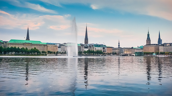 Hamburg skyline with Binnenalster (Inner Alster Lake) at sunset, Germany