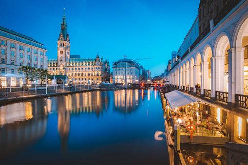 Hamburg skyline with city hall at twilight, Germany