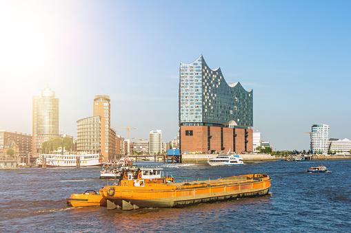 Hamburg Skyline with Landungsbrücken and Elbphilharmonie