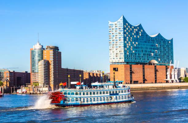 Hamburg Skyline with River Elbe stock photo