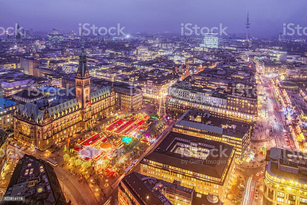 Hamburg Town Hall and Christmas Market at Night stock photo