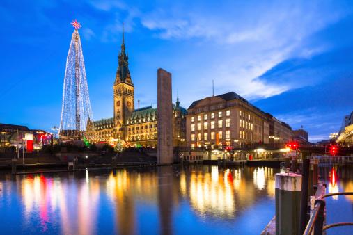 Hamburg town hall at christmas time